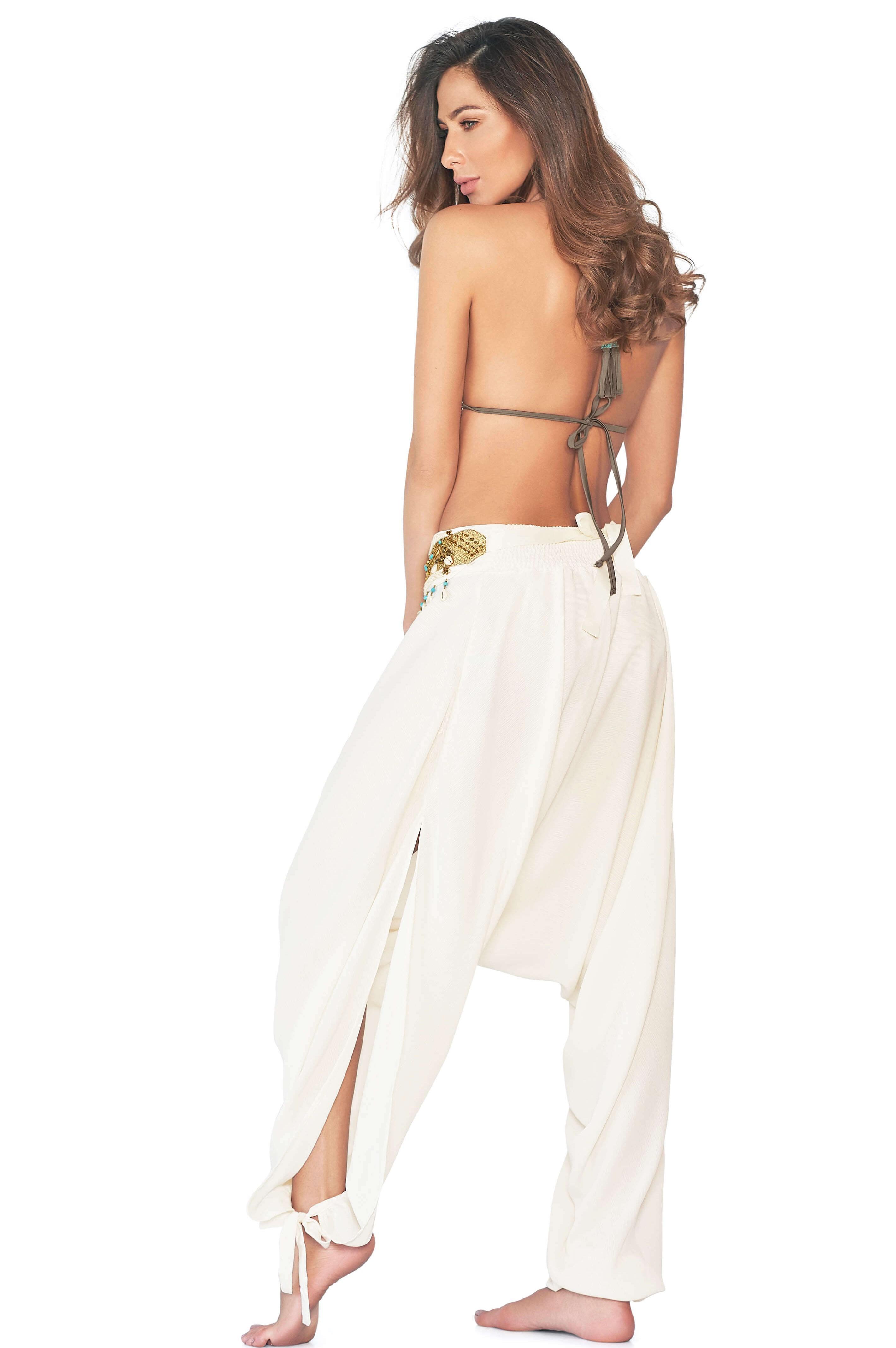 Cosita Linda Safari White Harem Pants-medium-Wit