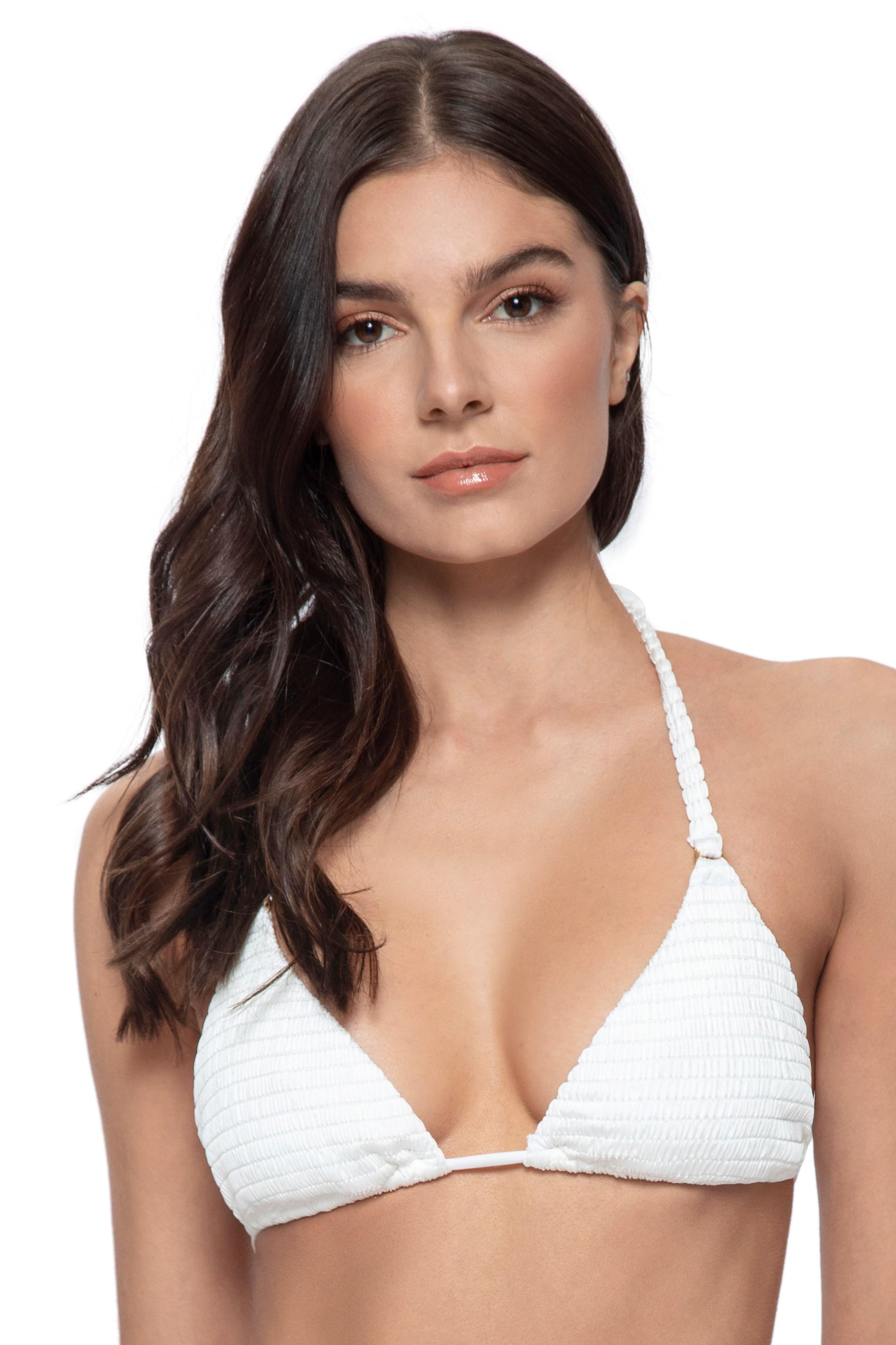 Pilyq Swim Pure Triangle Bikini Top Ivory