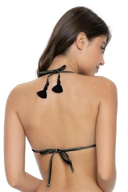 Pilyq Swim Tiger Lily Embroidered Triangle Bikini Top