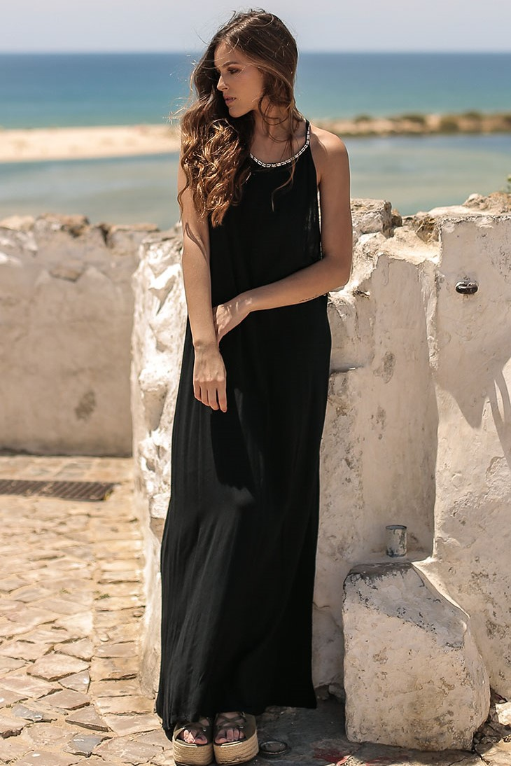 Beach Fashion Only Bohemian Long Dress Black