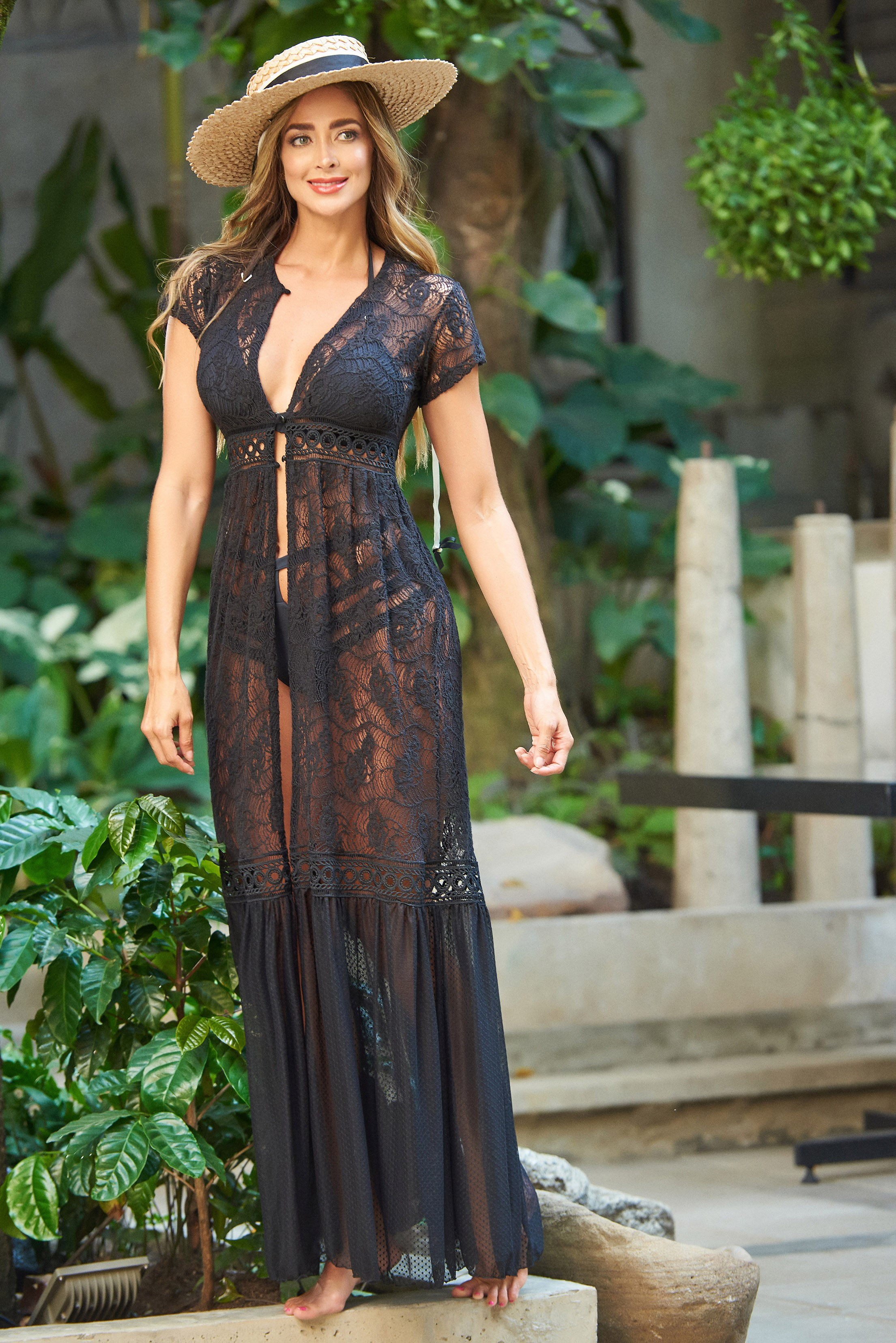 Beach Fashion Only Romantic Beach Kaftan Black