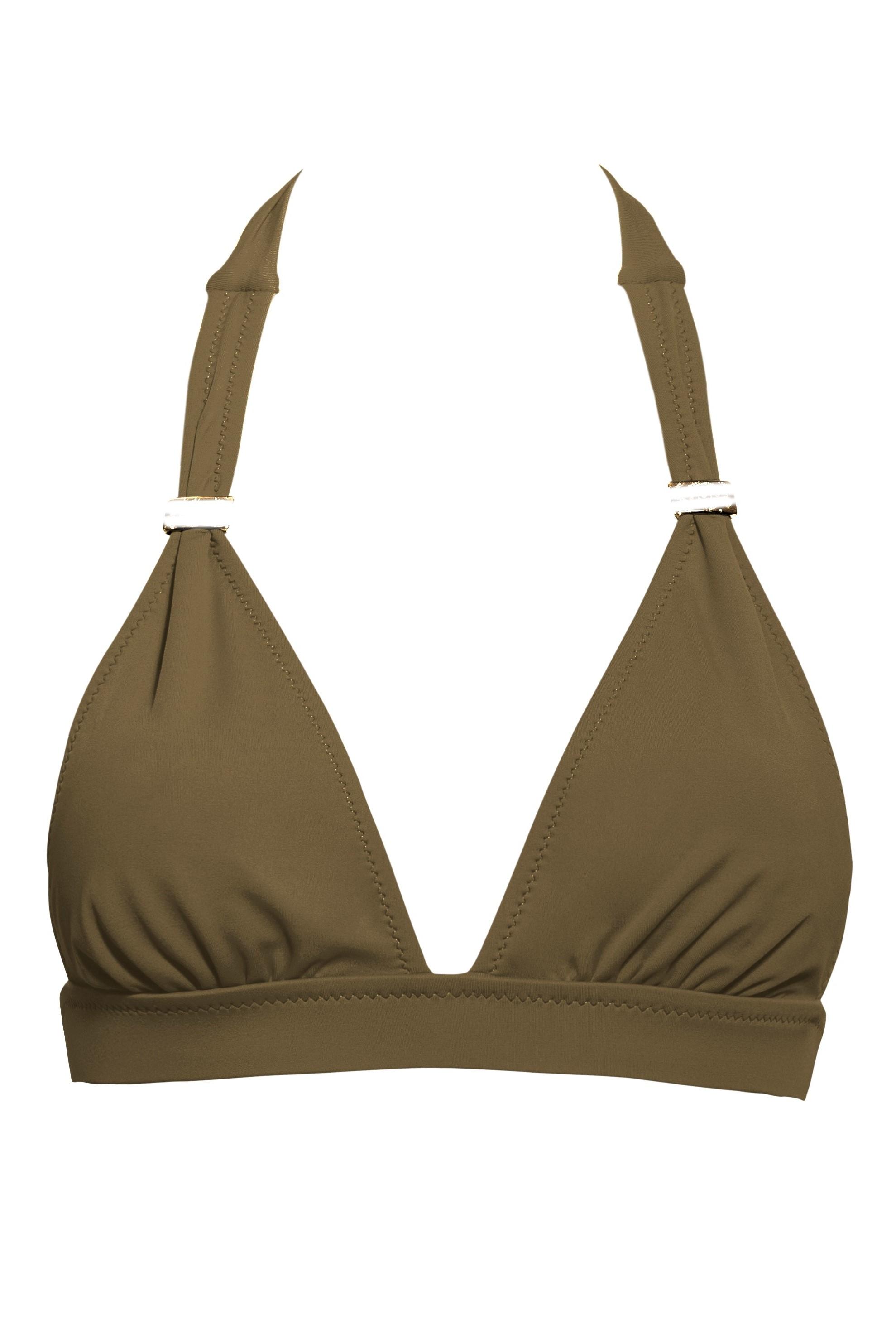 Phax Color Mix Halter Bikini Top Khaki Green-medium-Khaki