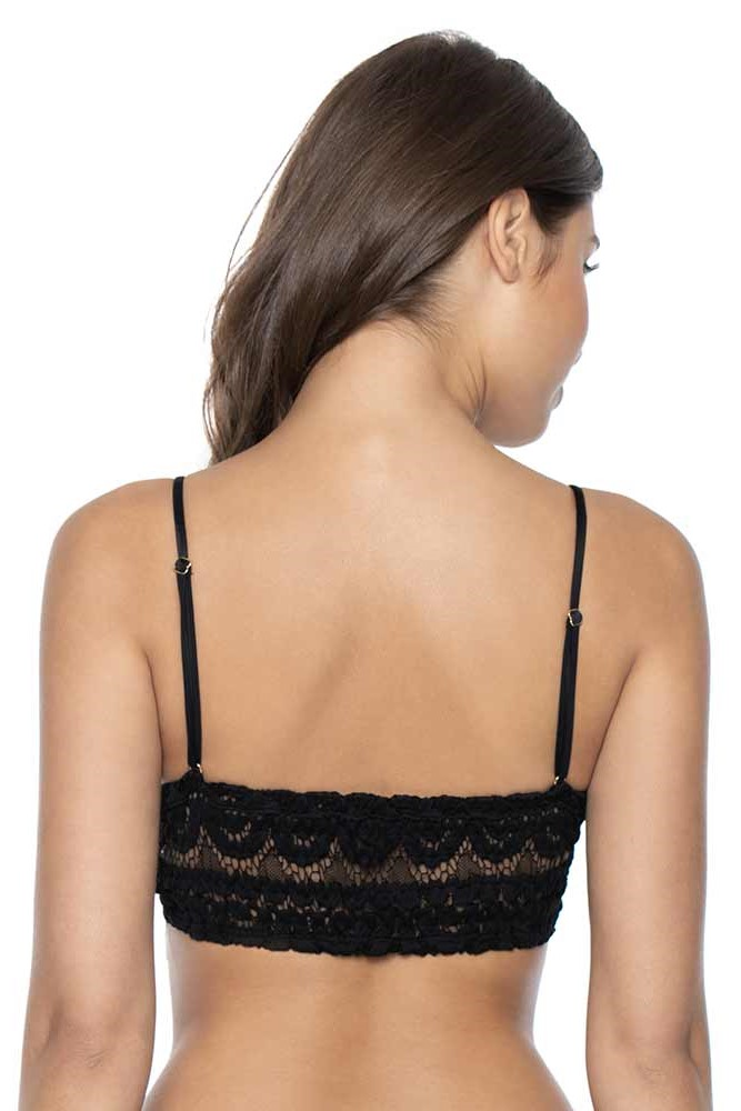 Pilyq Swim Midnight Lace Sweetheart Bralette Bikini Top Black