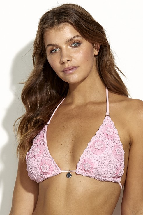 Panos Emporio Kandia Crochet Bikini Top Light Pink Medium