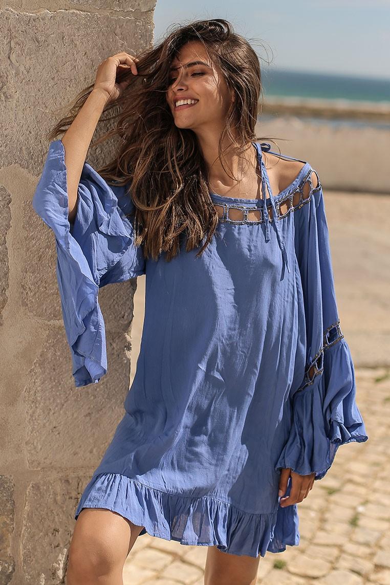Beach Fashion Only Anguilla Kaftan Hortensia-Uniek-Hortensia Blauw