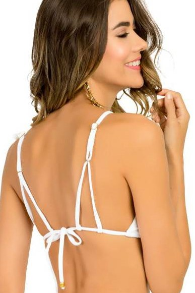 Vanuatu White Mesh Triangle Bikini Top -small-Wit