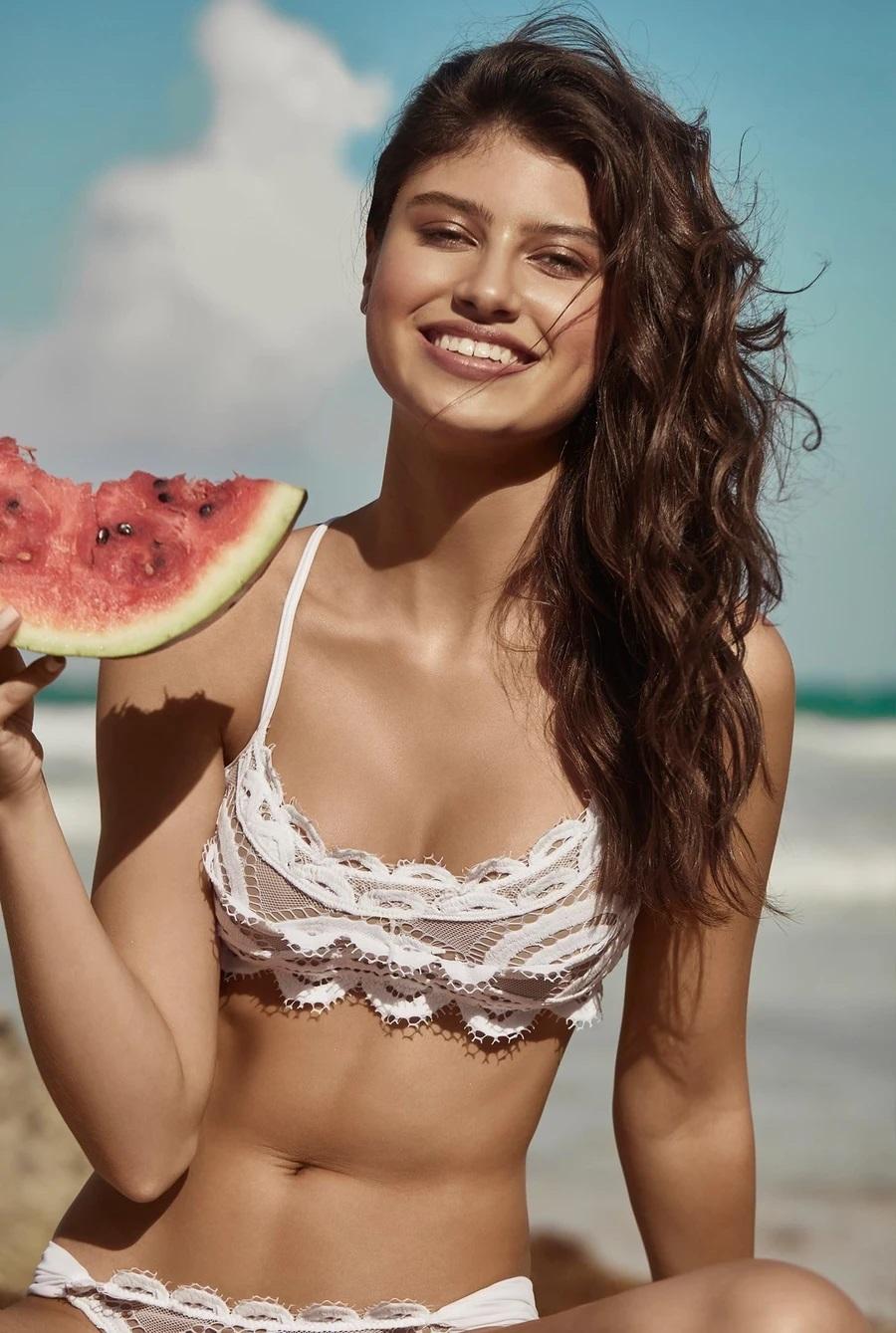 Pilyq Swim Water Lily Kanten Bralette Bikini Top Wit
