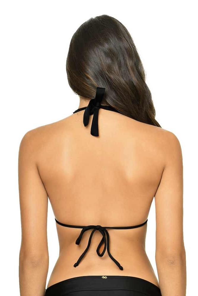 Pilyq Swim Midnight Lace Halter Bikini Top Black