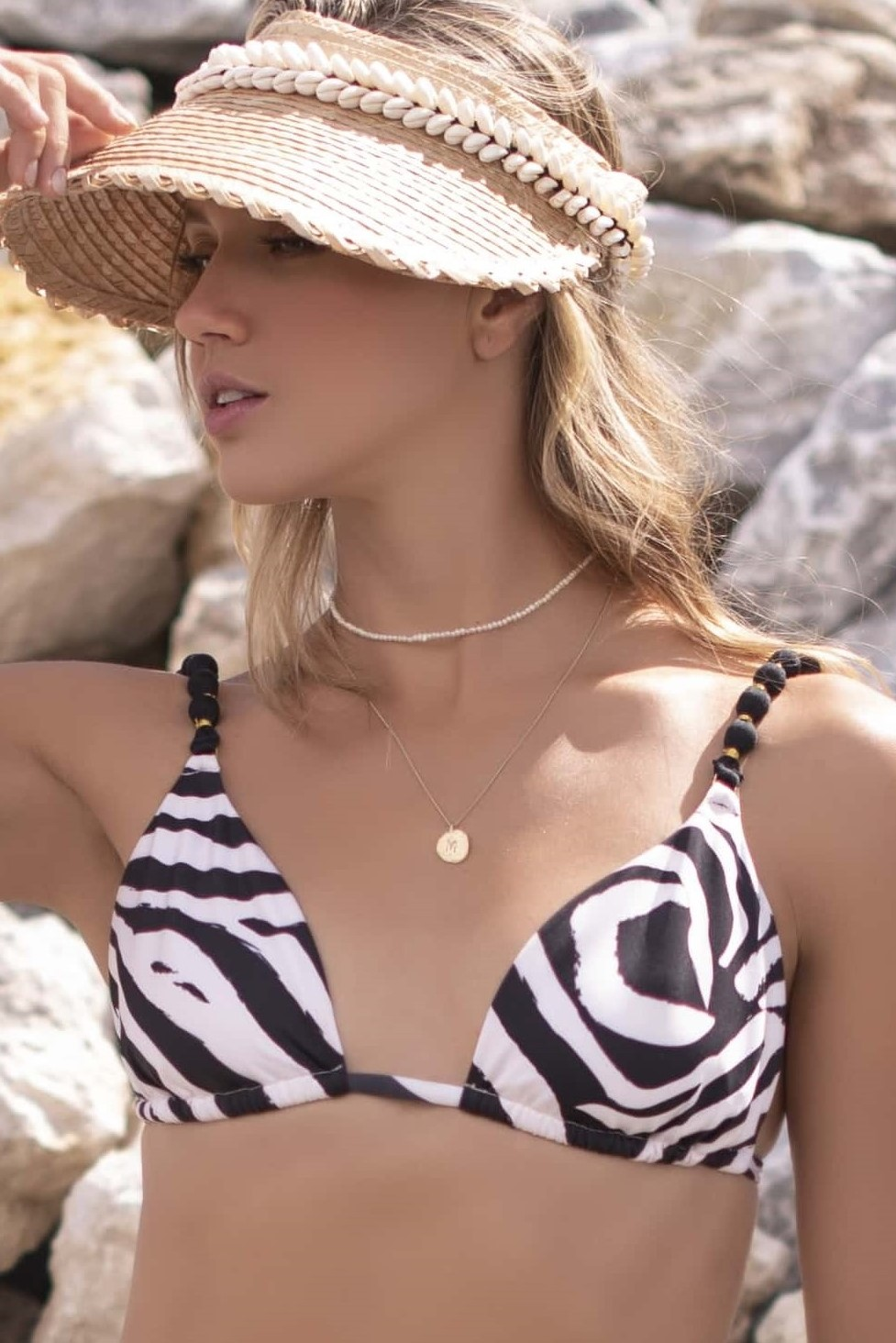 Milonga Zafari Halter Bikini Top Zebra