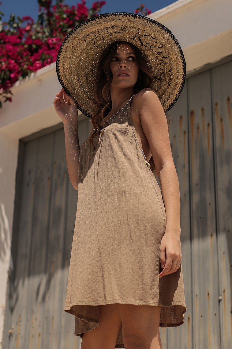 Beach Fashion Only Aruba Dress Brown-Uniek-Bruin