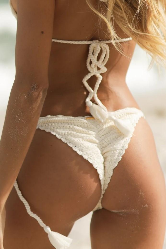 Almamia Wit Crochet bikini broekje