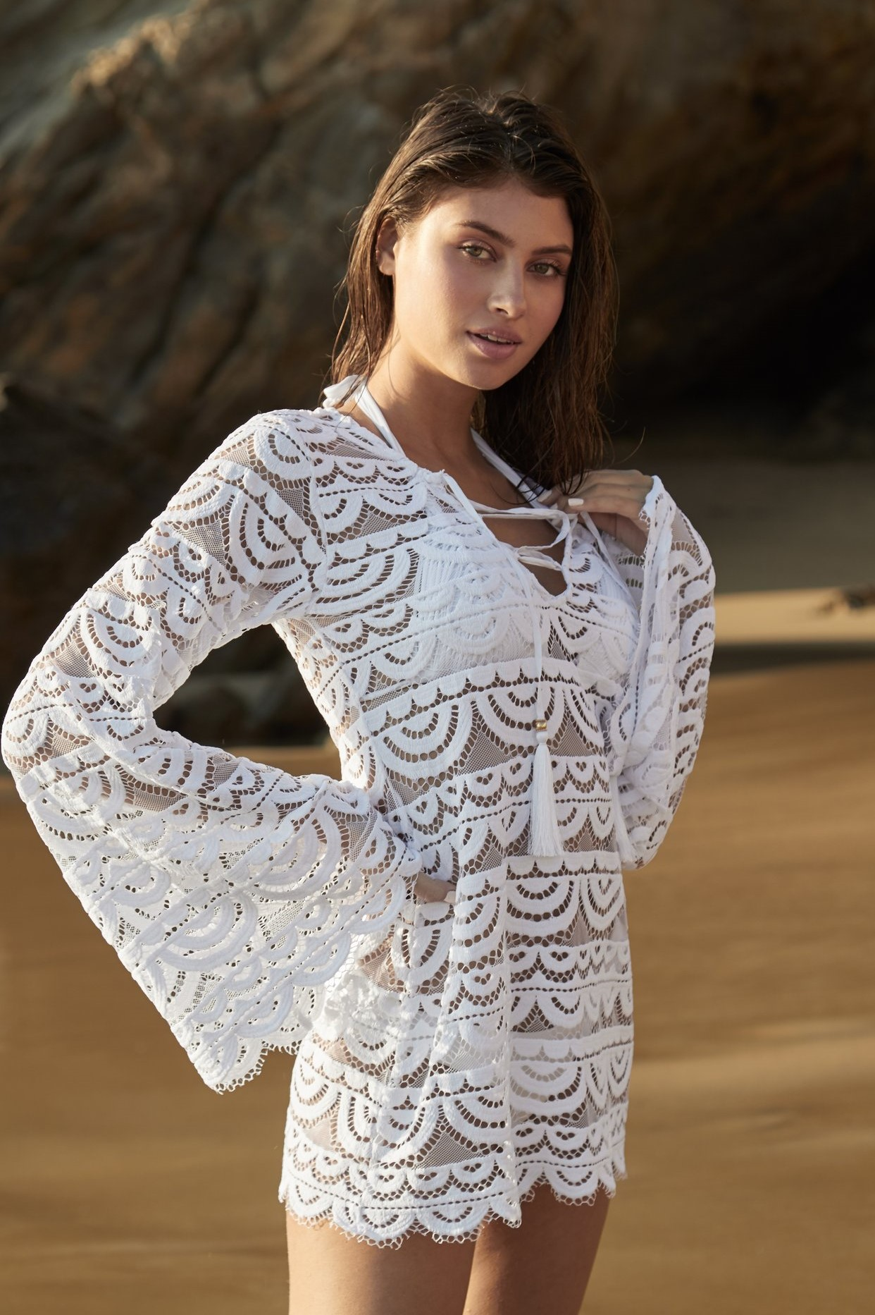 Pilyq Swim Water Lily Noah Tunic White
