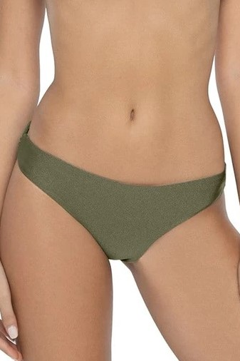Pilyq Swim Moss Scrunch Bikini Bottom Khaki Green