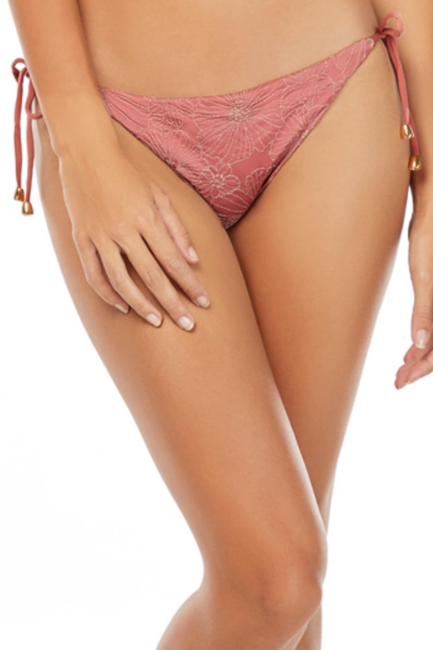 Cosita Linda Still Garden Embroidered Tie Side Bikini Bottom