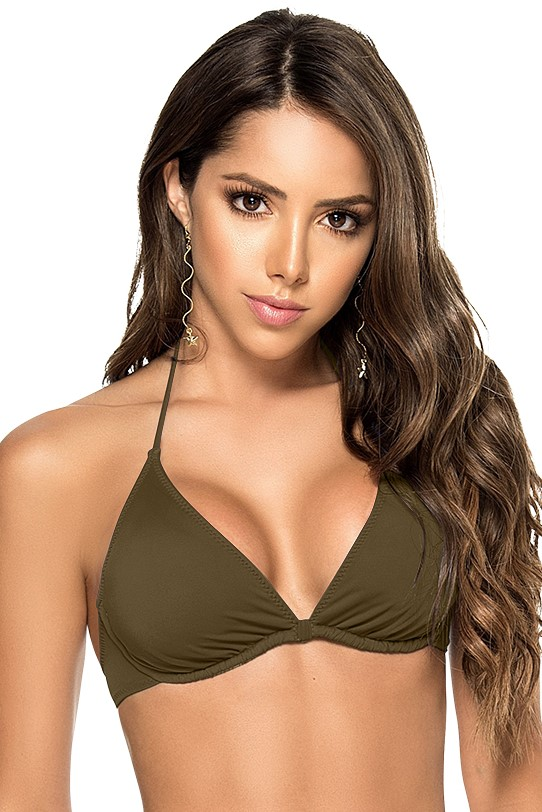 Phax Color Mix Wire Bikini Top Khaki Green-small-Khaki