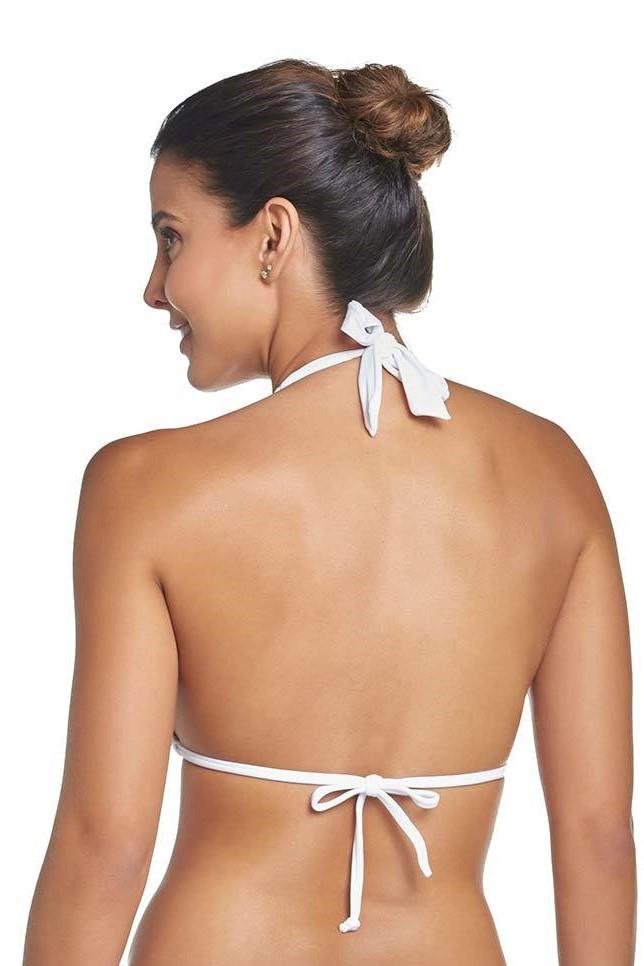 Pilyq Swim Water Lily Kanten Halter Bikini Top Wit