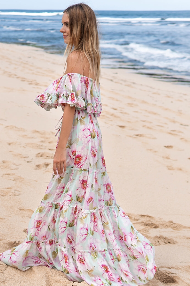 Miss June Long Dress Roses Agua