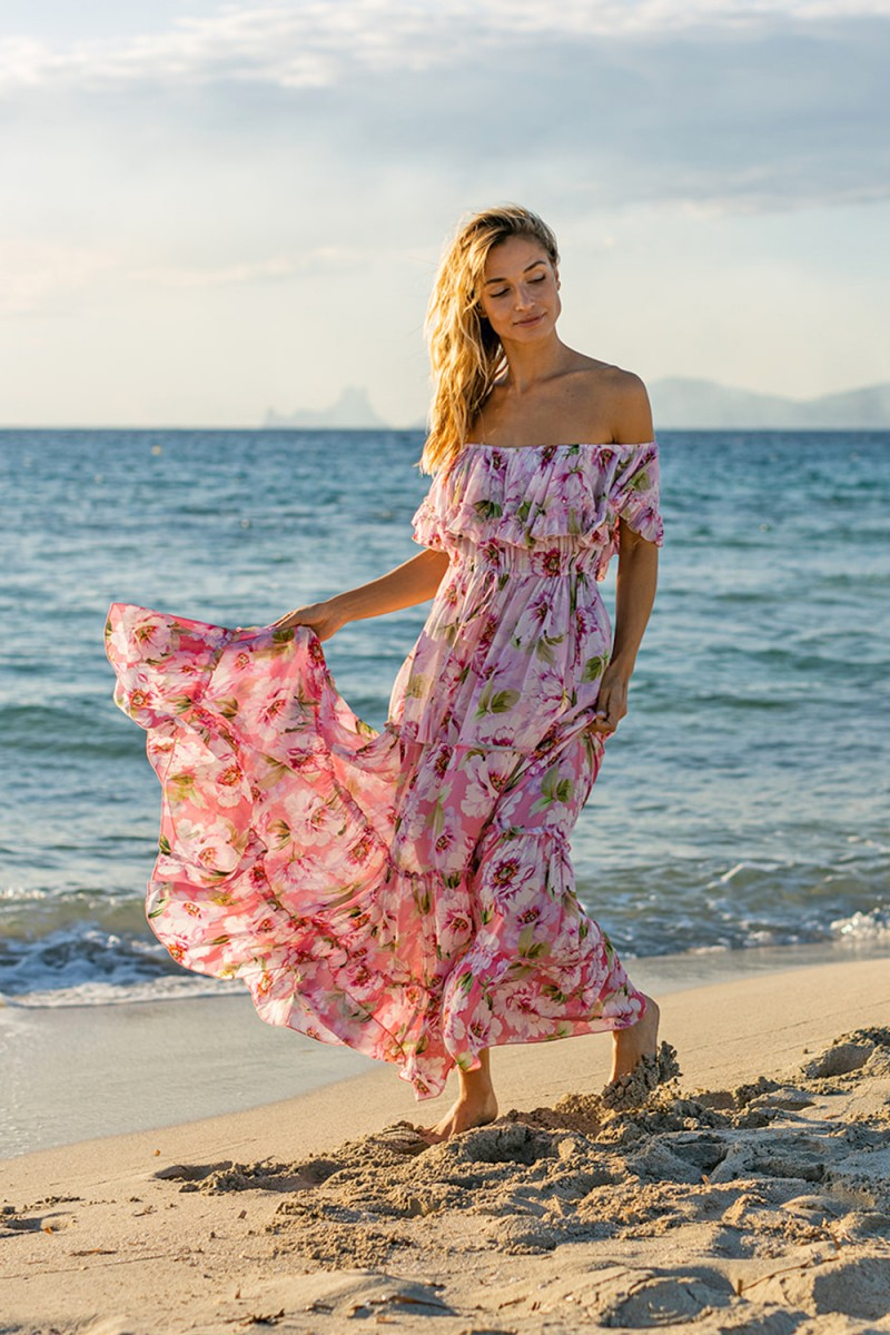 Miss June Long Dress Roses Pink