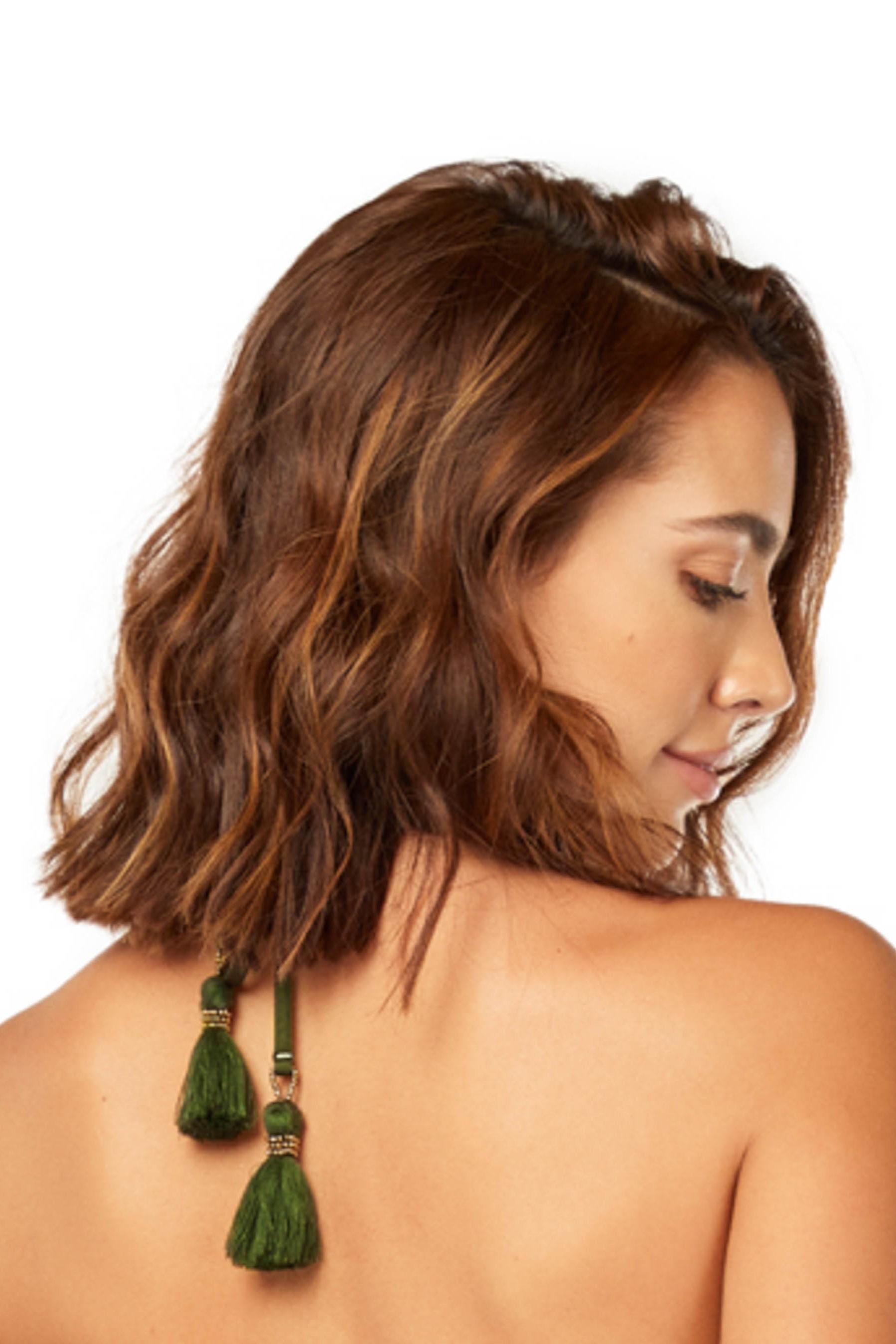 Cosita Linda Haere Mai Triangle Bikini Top Khaki Green