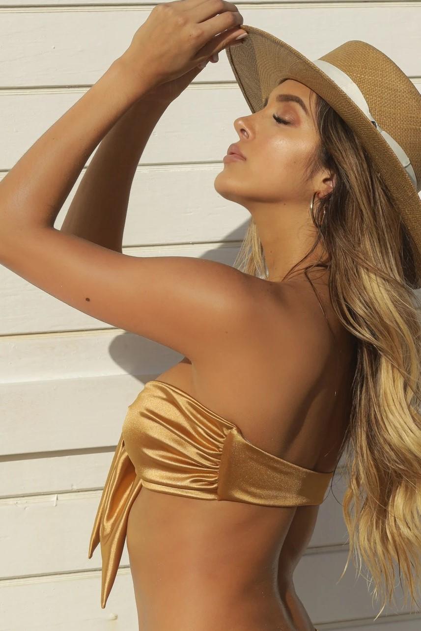 Almamia Shiny Golden Strapless Bikini Top