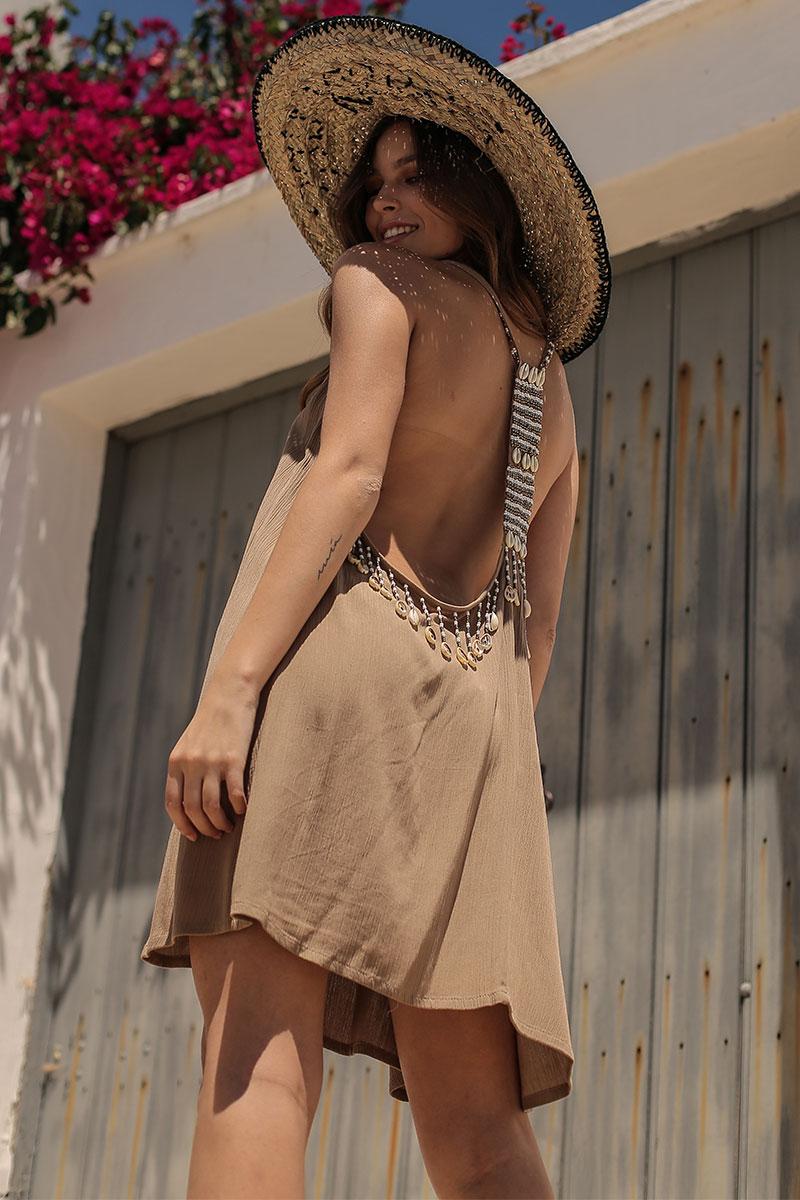Beach Fashion Only Aruba Jurk Bruin