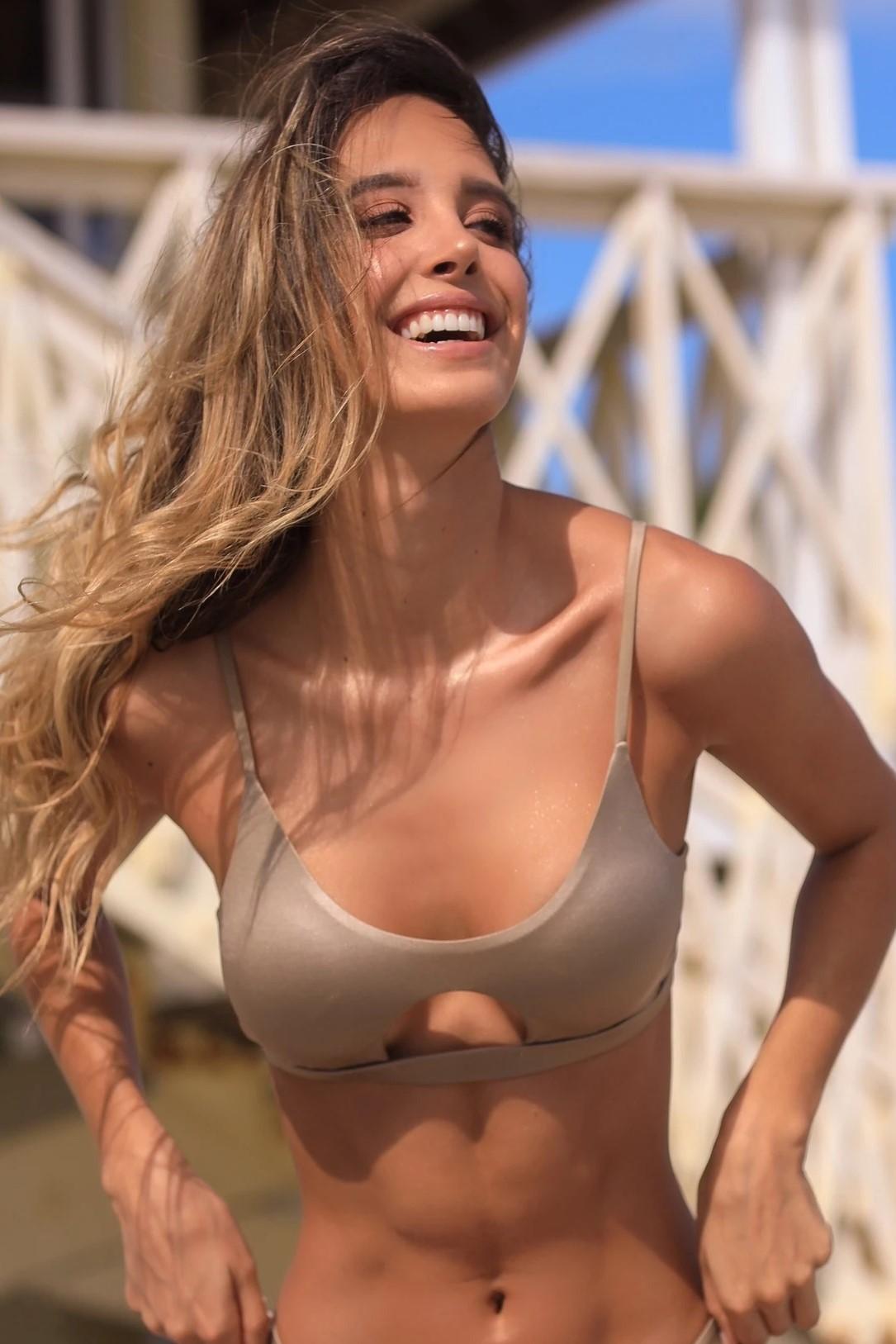 Almamia Golden Olivo Halter Bikini Top