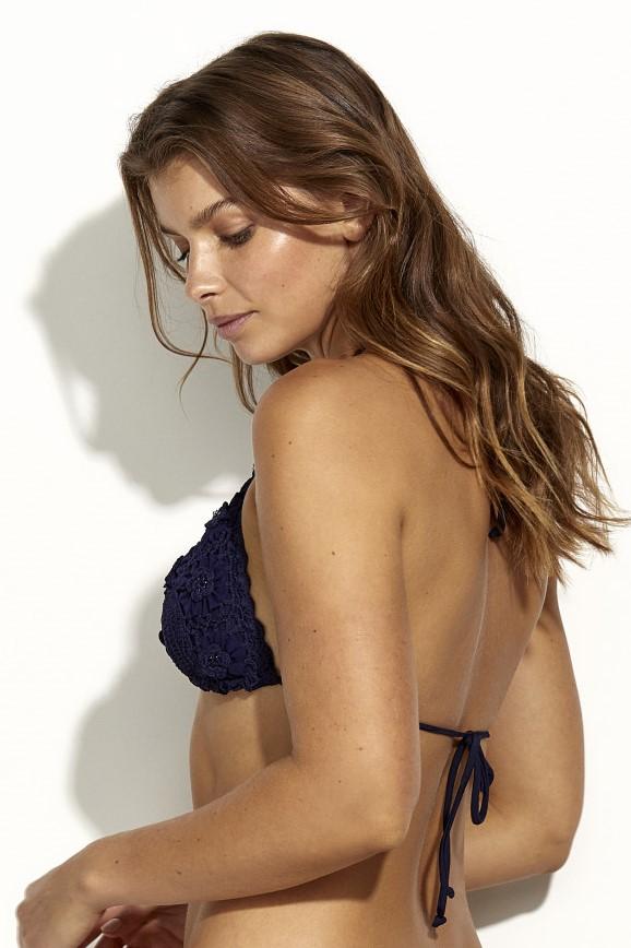 Panos Emporio Kandia Crochet Bikini Top Navy Blue