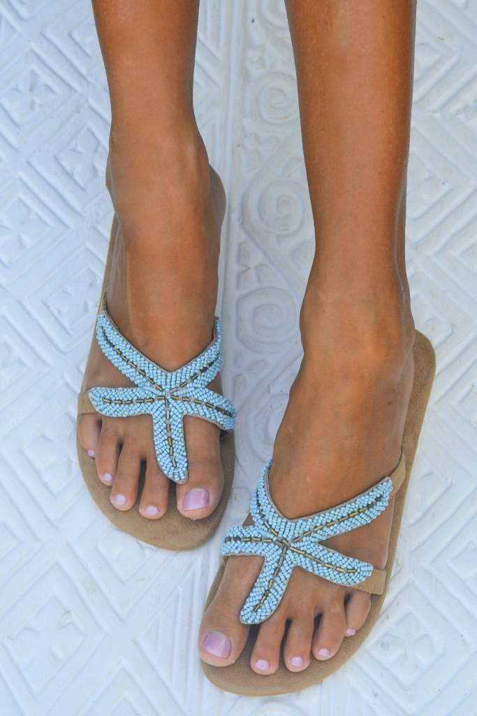Hot Lava Starfish Slippers Turquoise-36-Turquoise