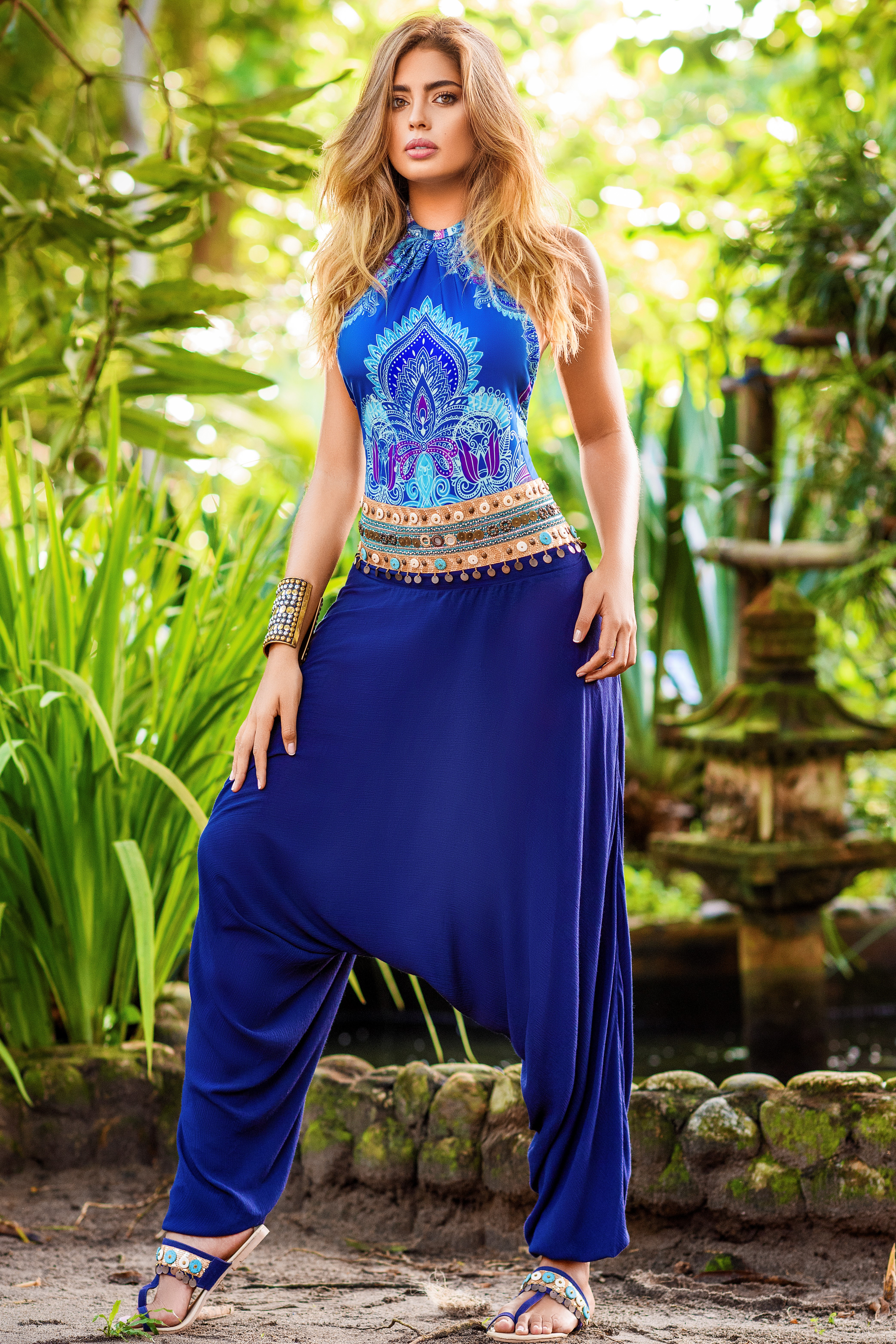 Cosita Linda Paisley Harem Pants Blue-medium-Blauw
