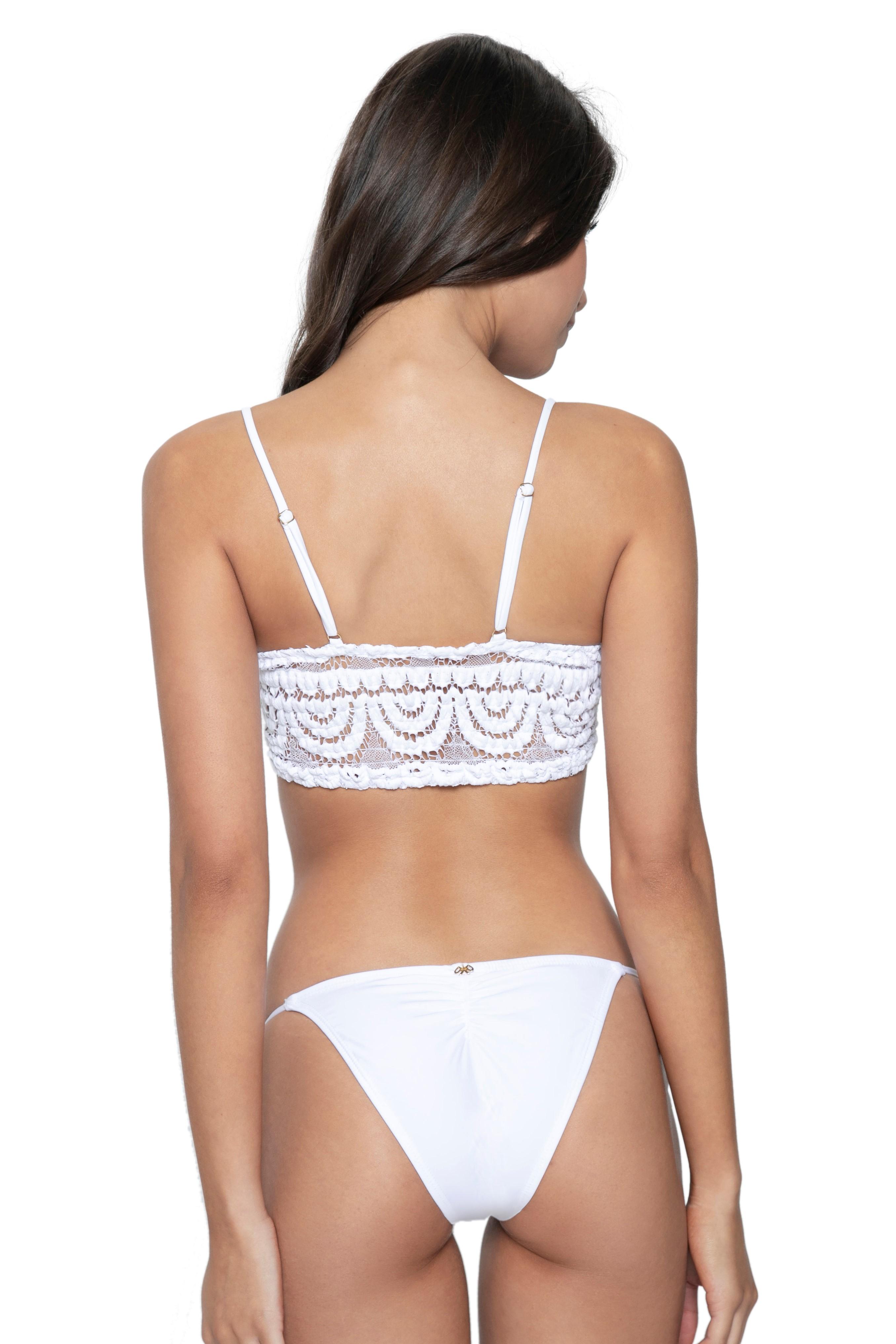 Pilyq Swim Water Lily Lace Sweatheart Bralette Bikini White