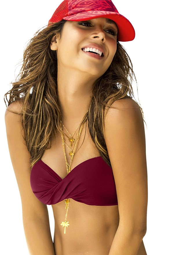 Phax Bordeaux Rode Twist Bandeau Bikini Top