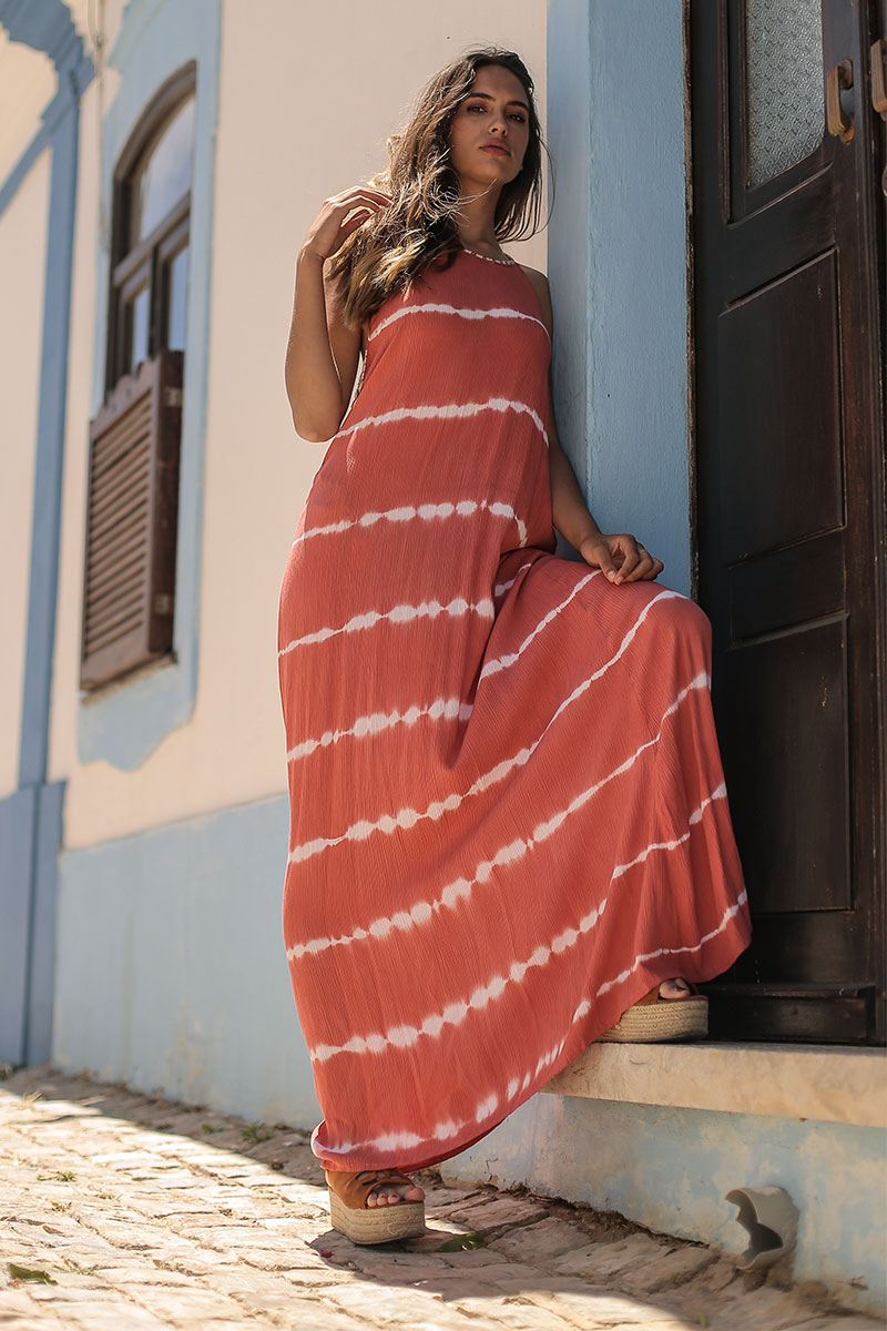 Beach Fashion Only Tie Dye Long Dress Coral