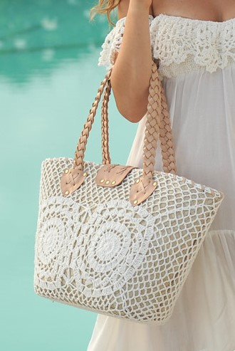 Hot Lava Crochet Strandtas Wit