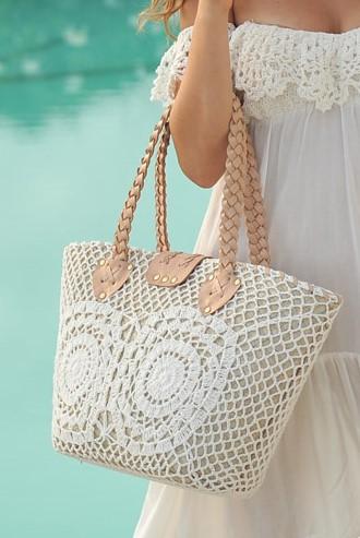 Hot Lava Basket Crochet White & Leather-Uniek-Wit