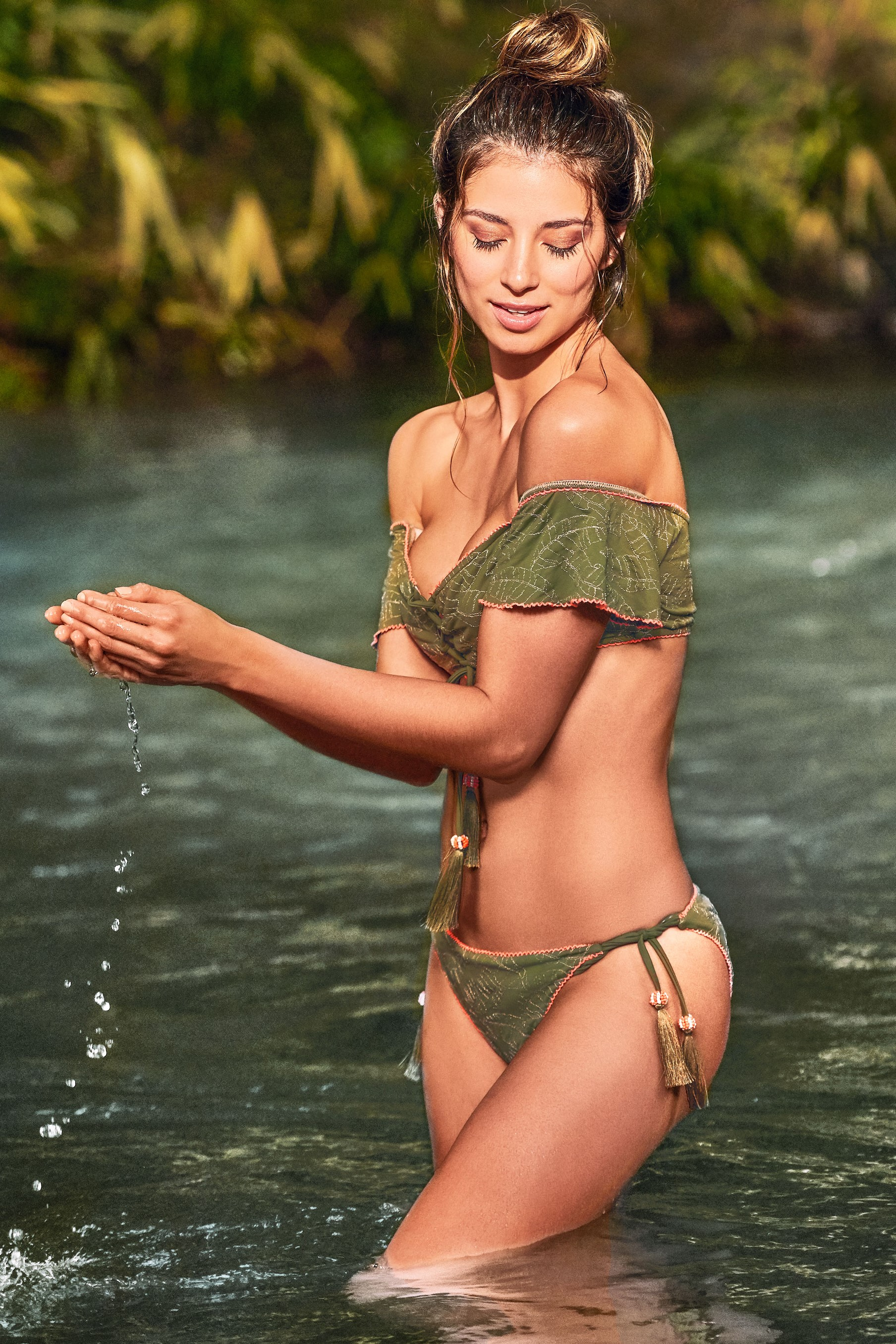 Cosita Linda Pacifico Off Shoulder Bikini Khaki Green