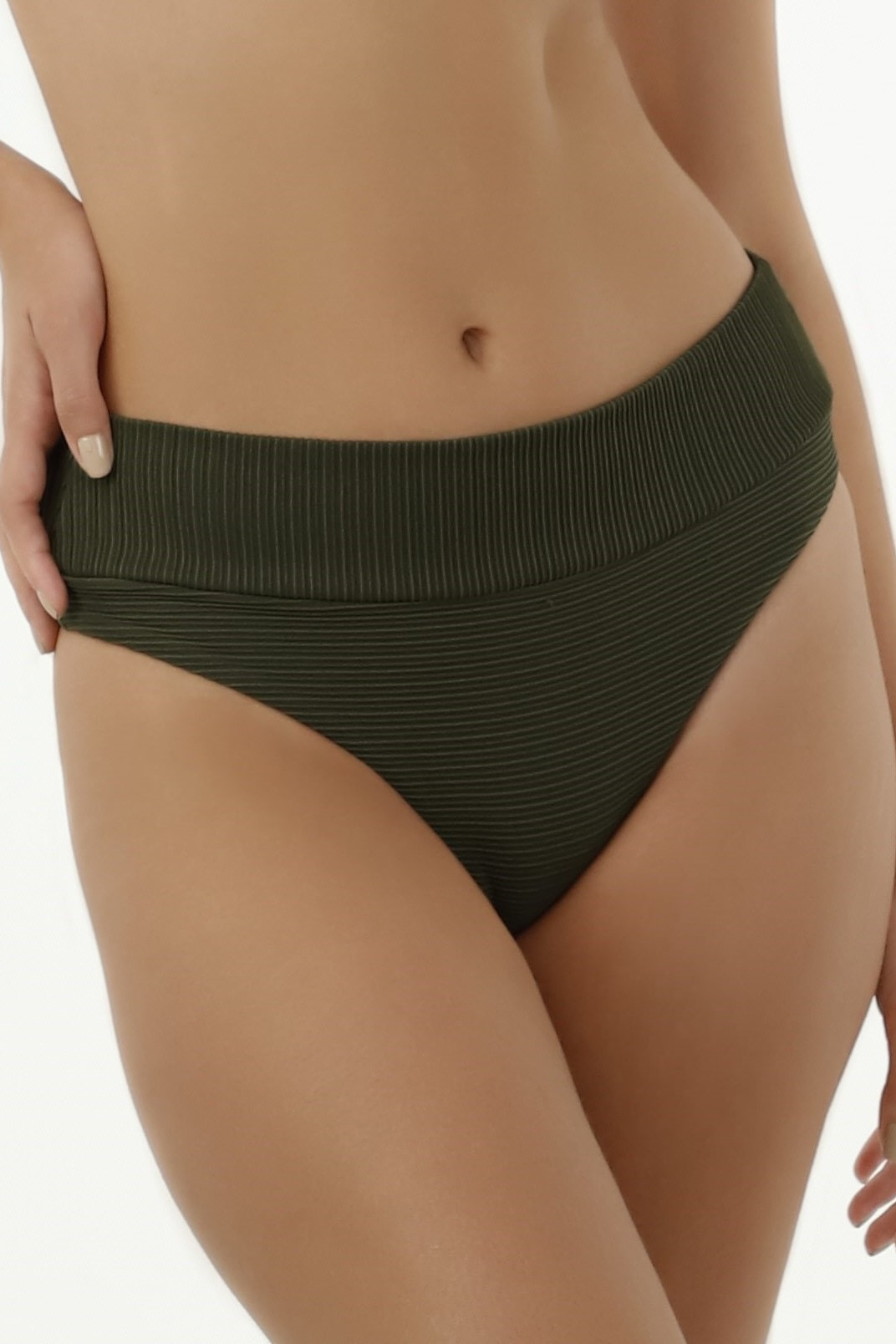 Milonga Texture Bikini High Waisted Bikini Bottom Green