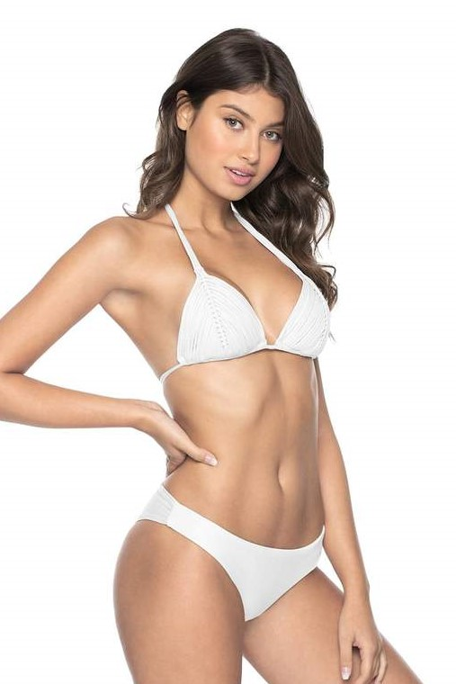 Pilyq Swim Water Lily Isla Triangle Bikini White