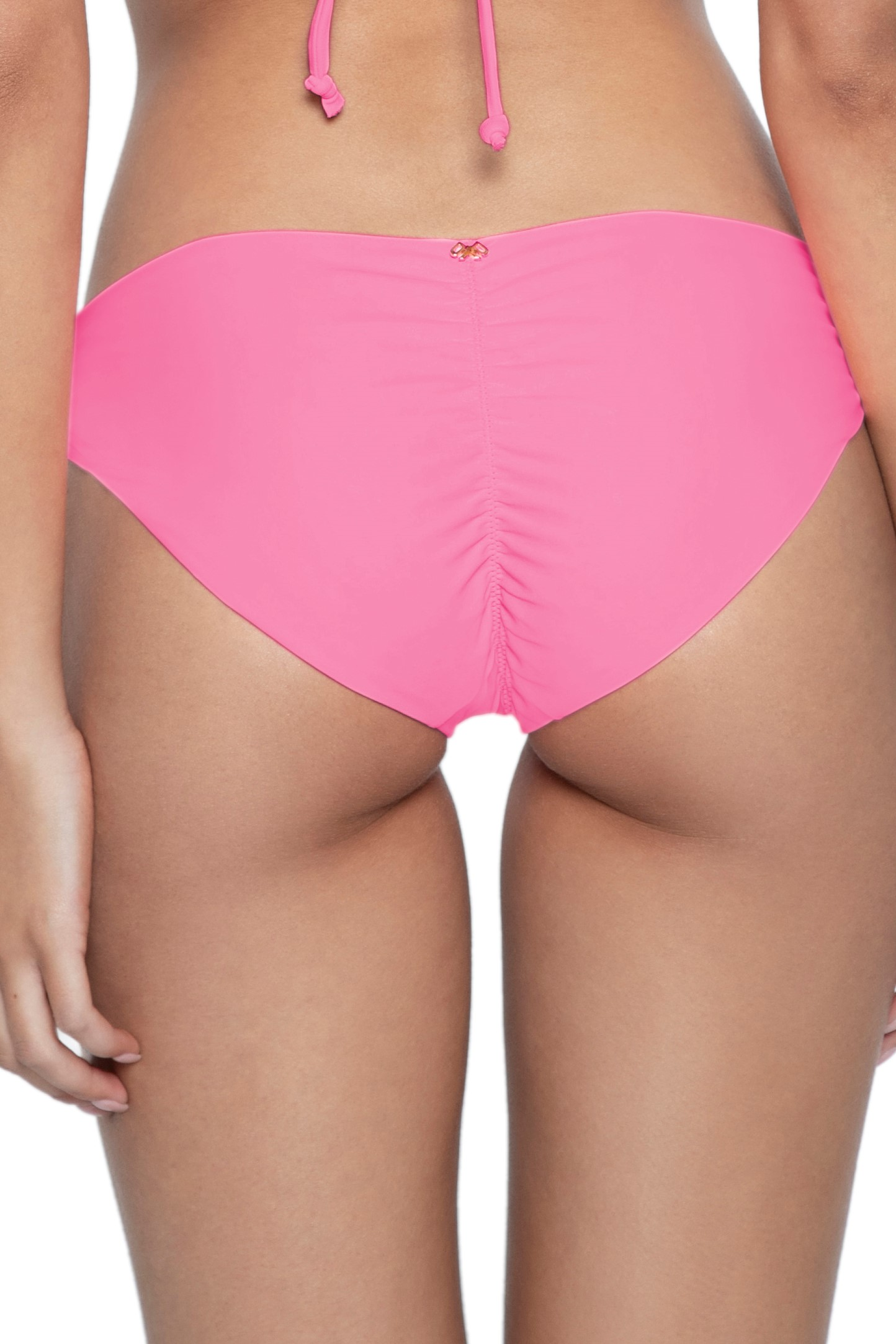 Pilyq Swim Pink Topaz Isla Full Scrunch Bikini Bottom Pink