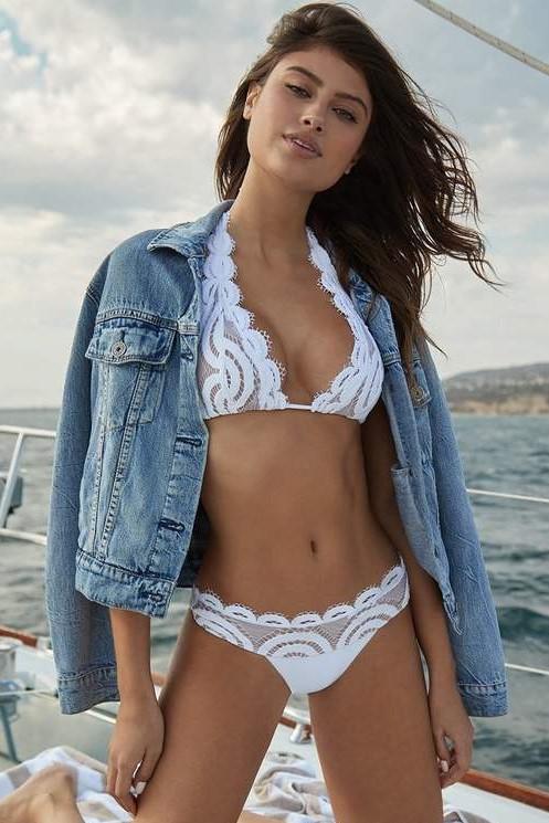 Pilyq Swim Water Lily Lace Halter Bikini White