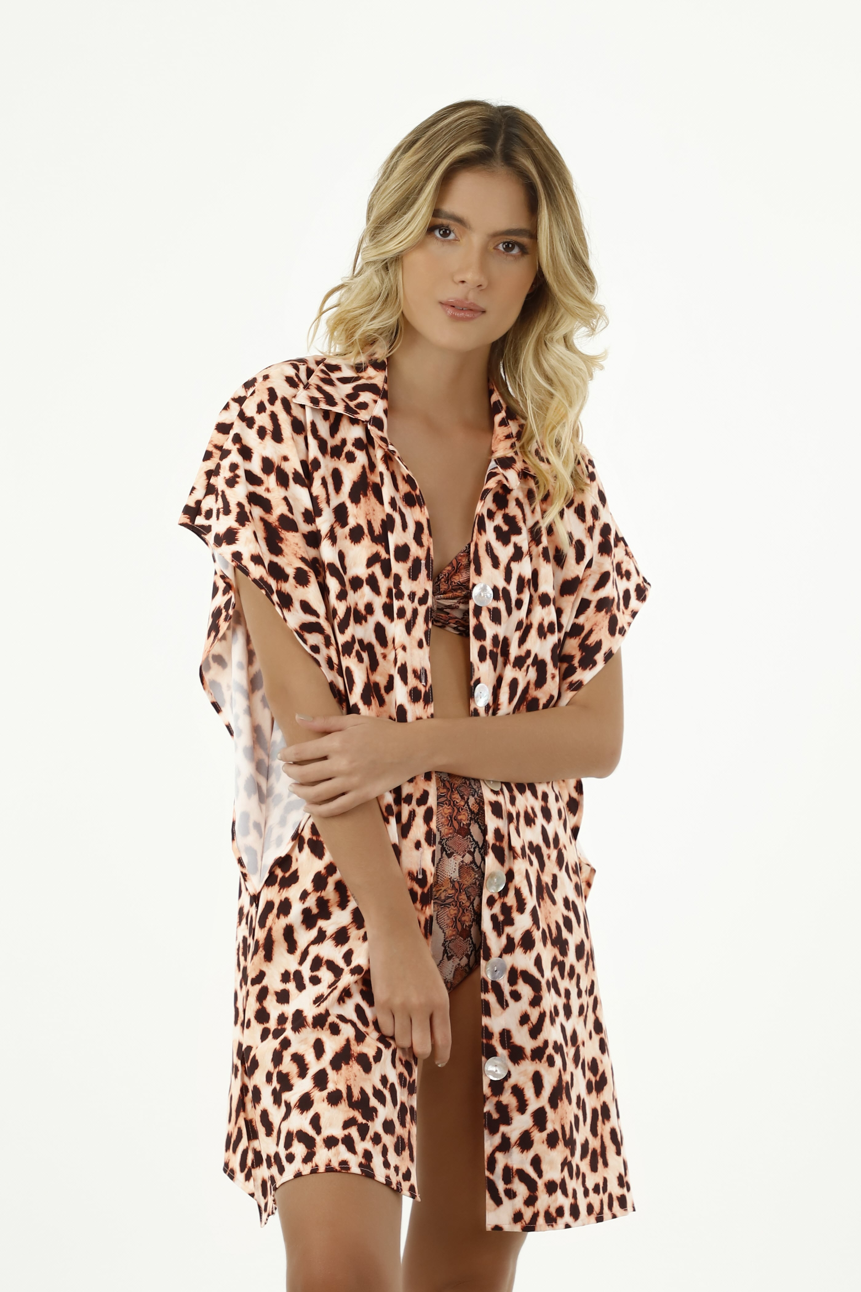 Milonga Guepardo Strand blouse Luipaardprint