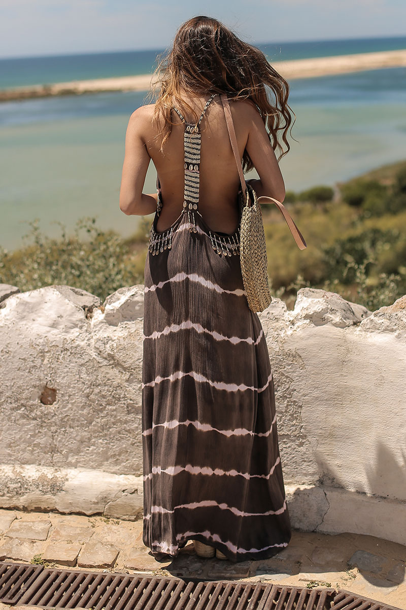 Beach Fashion Only Tie Dye Long Dress Brown