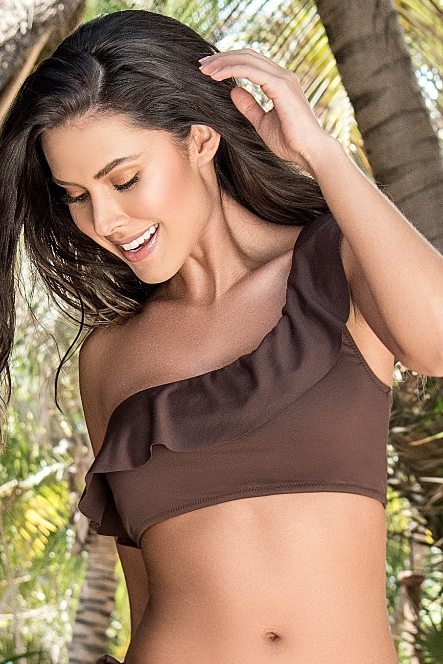 Phax One Shoulder Bikini Brown