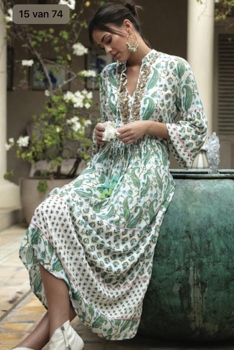Miss June Long Dress Garden White -Uniek-Multicolour