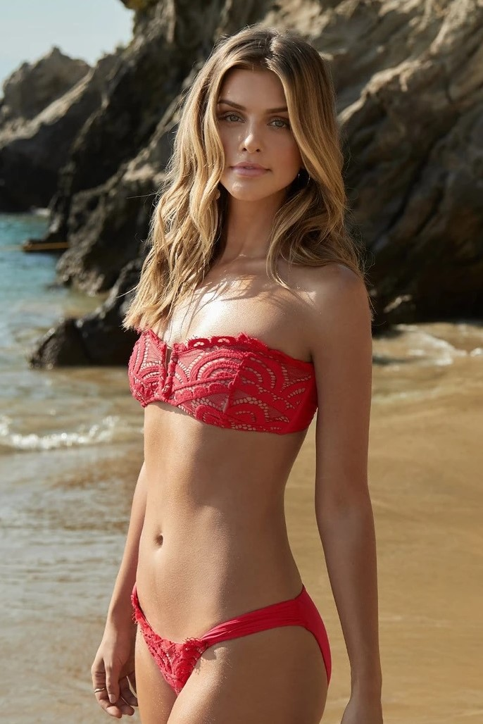 Pilyq Swim Crimson Strapless Lace Bikini Red