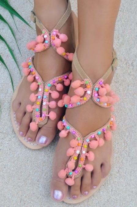 Hot Lava Sandals Lulu Pom Pom Coral-38-Koraal