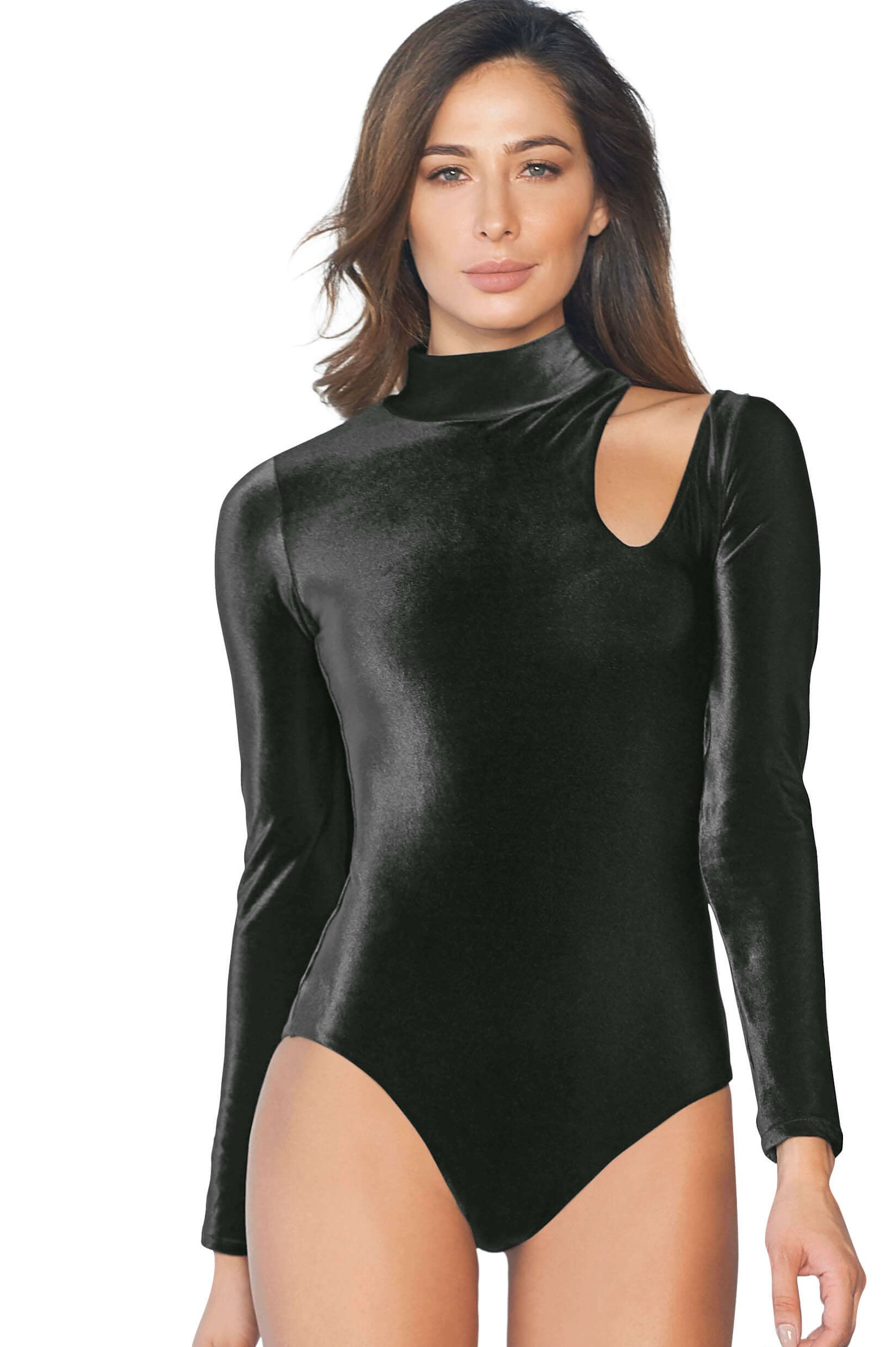 Cosita Linda Kenia Black Velvet Swimsuit Long Sleeves-medium-Zwart