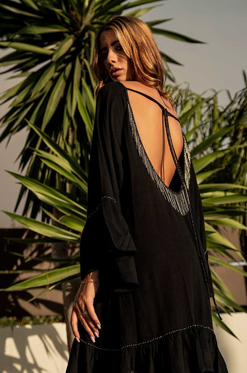 Beach Fashion Only Black Beach Kaftan