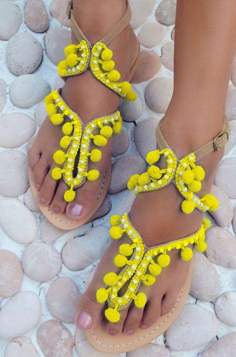 Hot Lava Sandals Lulu Pom Pom Yellow-40-Geel