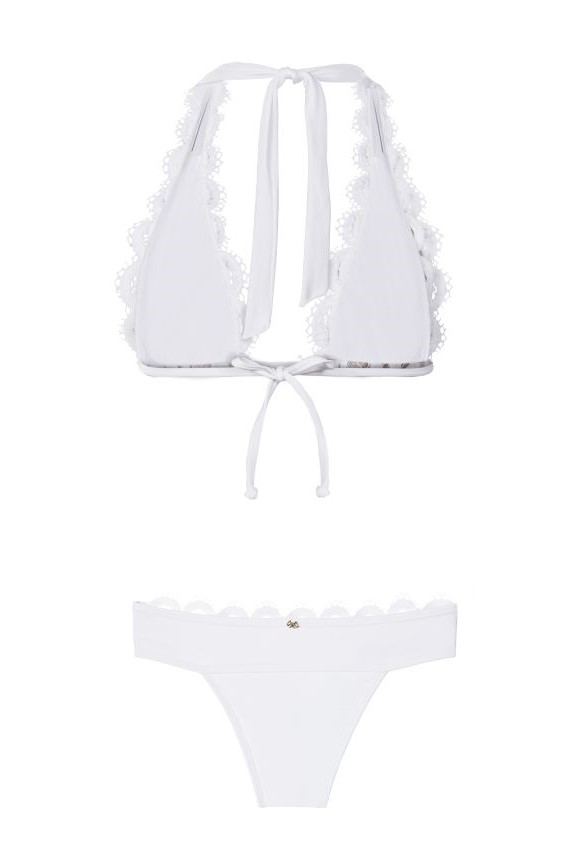 Pilyq Swim Water Lily Kanten Halter Bikini Wit