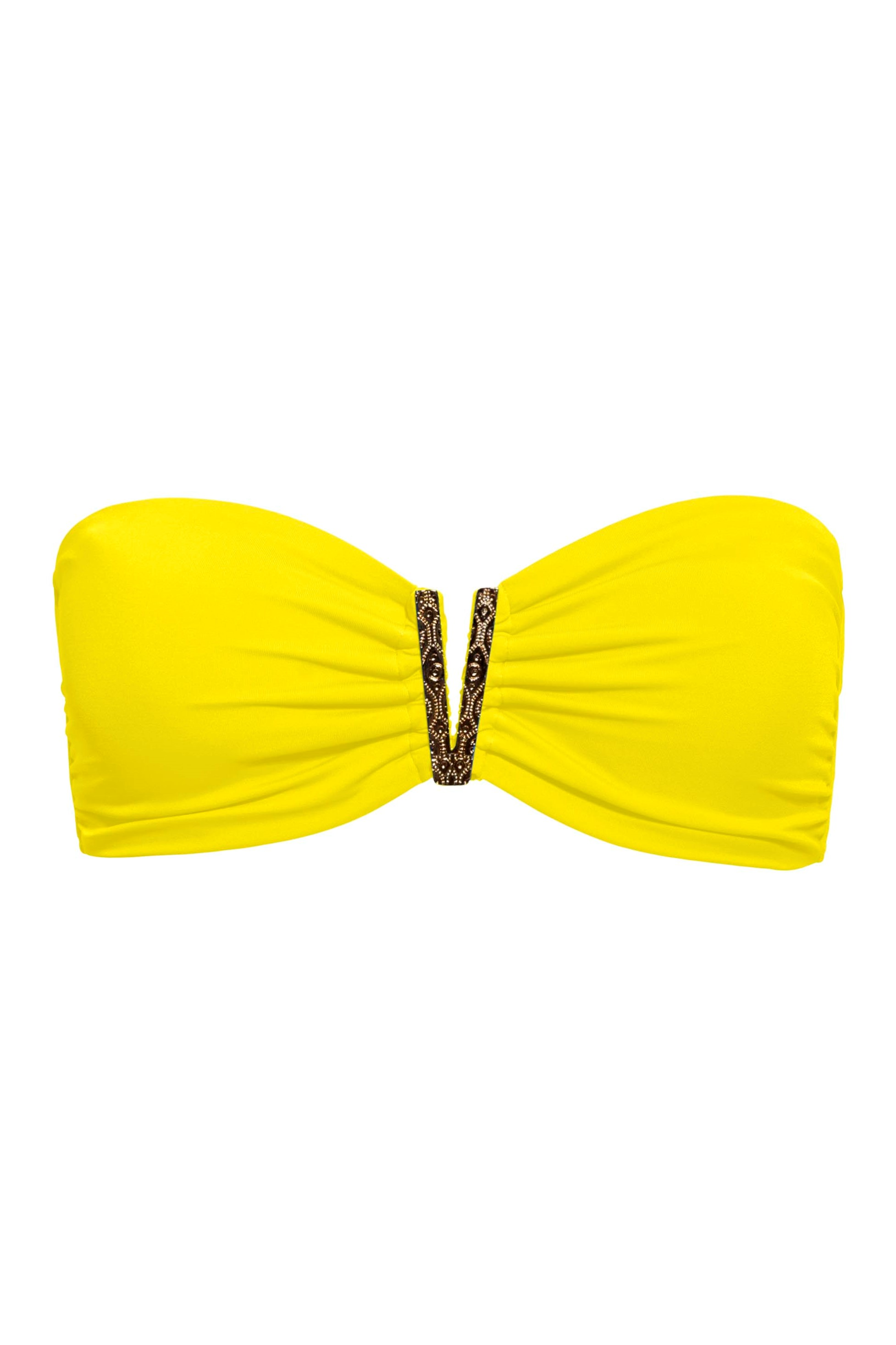 Phax Color Mix Strapless V Bikini Top Yellow-small-Geel
